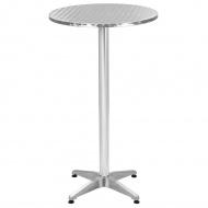 Składany stolik ogrodowy, srebrny, aluminium, Ø 60 cm