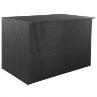 Skrzynia ogrodowa, czarna, 150 x 100 x 100 cm, rattan PE