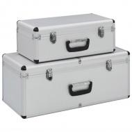 Skrzynie do przechowywania, 2 szt., srebrne, aluminiowe