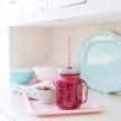 Słoik z uchwytem i słomką 450 ml Kitchen Craft Home Made czerwony  KCHMGLSJUGCOL_RD