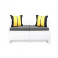 Sofa 128x70x79cm Bazkar Corfu Love Seat biały/popiel