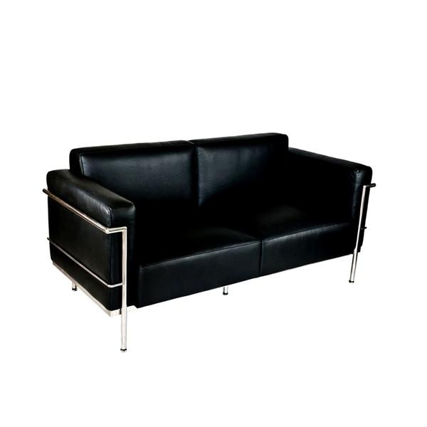 Sofa 2-osobowa Soft GC czarna skóra DK-12803
