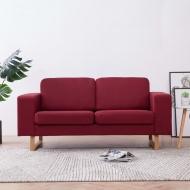 Sofa 2-osobowa, tapicerowana tkaniną, kolor czerwonego wina