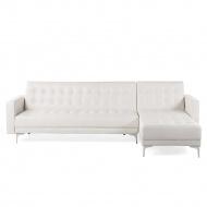 Sofa lewostronna biała skóra ekologiczna rozkładana ABERDEEN