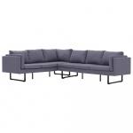 Sofa narożna, jasnoszara, materiałowa