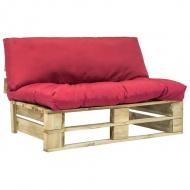 Sofa ogrodowa z palet z czerwonymi poduszkami, drewno FSC