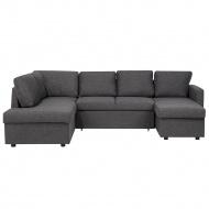 Sofa rozkładana podkowa tapicerowana ciemnoszara KARRABO