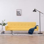 Sofa rozkładana z podłokietnikami, żółta, poliester
