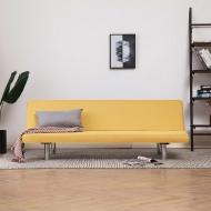 Sofa, rozkładana, żółta, poliester
