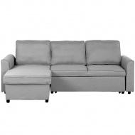 Sofa tapicerowana jasnoszara prawostronna NESNA