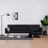 Sofa w kształcie litery L, czarna, sztuczna skóra