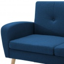 Narożnik z leżanką obity tkaniną niebieski