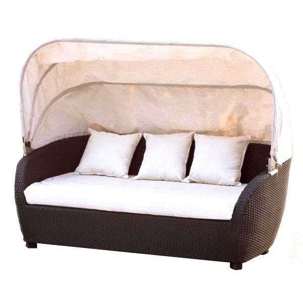 Sofa z technorattanu z baldachimem i poduszkami AKbud wenge-beż LN-027