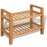 Stojak na buty z 2 półkami, drewno dębowe 49,5 x 27 x 40 cm