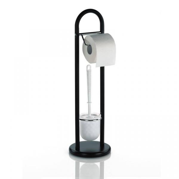 Stojak na szczotkę do WC i papier toaletowy Kela Fabio czarny KE-20973