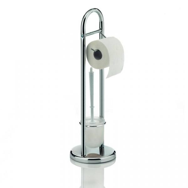 Stojak na szczotkę do WC i papier toaletowy Kela Fabio srebrny KE-18002