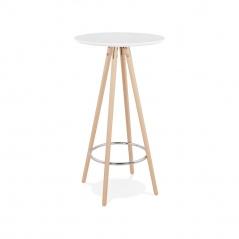 Stół barowy Kokoon Design Deboo biały nogi naturalne