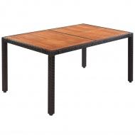 Stół do ogrodu, rattan PE i drewno akacjowe, 150x90x75 cm