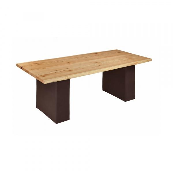 Stół drewniany 200x100 na skórzanych nogach Quentin Design modrzew QD-002