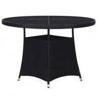 Stół ogrodowy, czarny, 110 x 74 cm, rattan PE