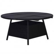 Stół ogrodowy, czarny, 150 x 74 cm, rattan PE