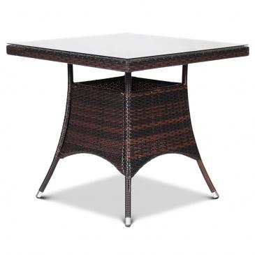 Stół z technorattanu Lugo 80x80 : Kolor - Mixed Brown