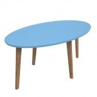 Stolik D2 Norman owalny z niebieskim blatem