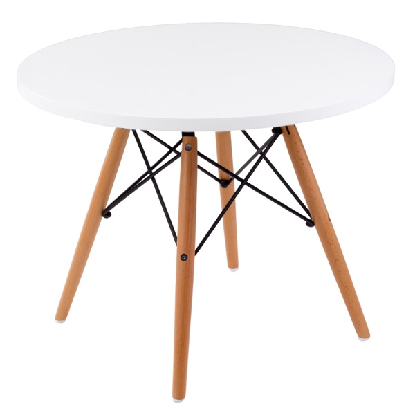 Stolik DTW średnica blatu 60 cm biały, drewniane nogi 5902385709996