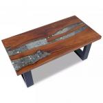 Stolik kawowy z drewna tekowego i żywicy 100x50 cm