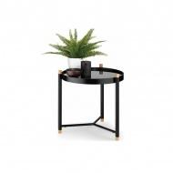 stolik łazienkowy, śred. 45 x 47,5 cm, metal/drewno dębowe, szklany blat