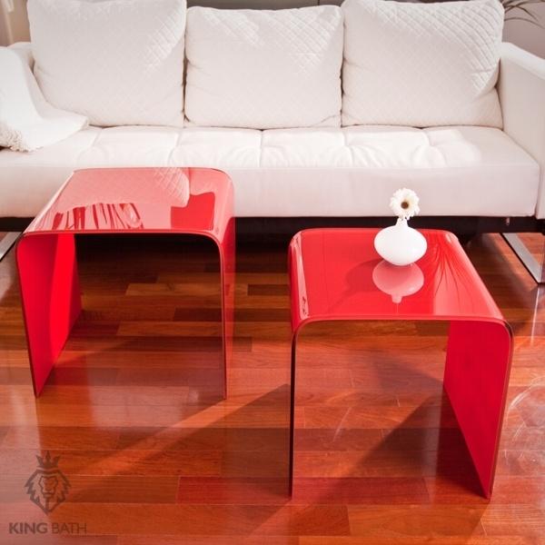 Stolik szklany King Bath Priam Duo czerwony TO-SK-004.CZERWONY