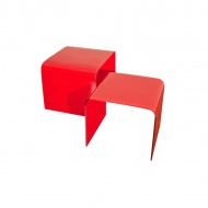 Stolik szklany King Home Priam Duo czerwony