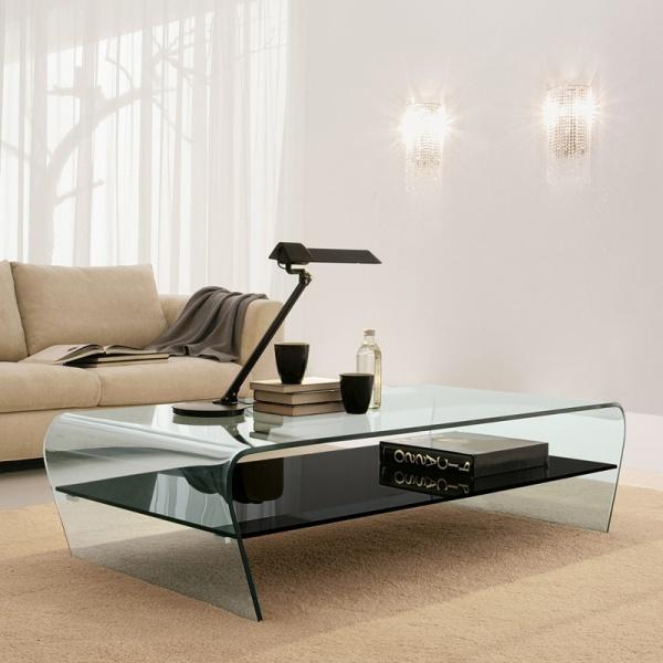 Stolik szklany transparentny z czarną półką King Bath Casa Violino TO-SK-005B