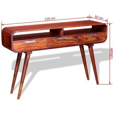 Stolik typu konsola z litego drewna sheesham, 120 x 30 x 75 cm