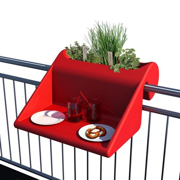 Stolik z pojemnikiem na balkon Balkonzept Rephorm czerwony RB002