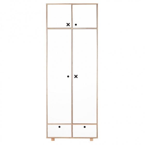 Szafa 2-drzwiowa 215x80 Durbas Style Kółko Krzyżyk biała DUS900