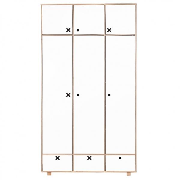 Szafa 3-drzwiowa 215x120 Durbas Style Kółko Krzyżyk biała DUS1000