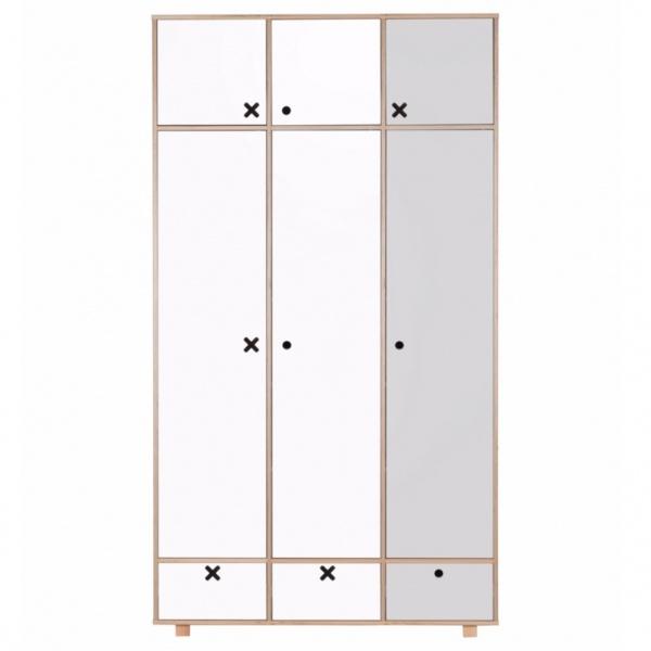 Szafa 3-drzwiowa 215x120 Durbas Style Kółko Krzyżyk szaro-biała DUS1020