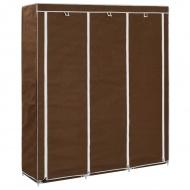 Szafa z przegrodami i drążkami, brązowa, 150x45x175 cm, tkanina