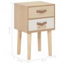 Szafka nocna z 2 szufladami, 30x25x49,5 cm, lite drewno sosnowe