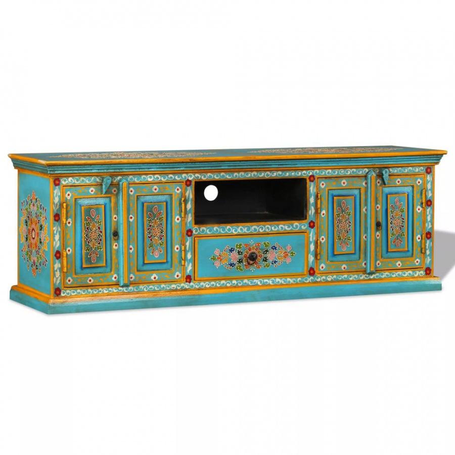 Szafka pod telewizor, drewno mango, niebieska, ręcznie malowana kod: V-244591 + Z NAMI NIE RYZYKUJESZ