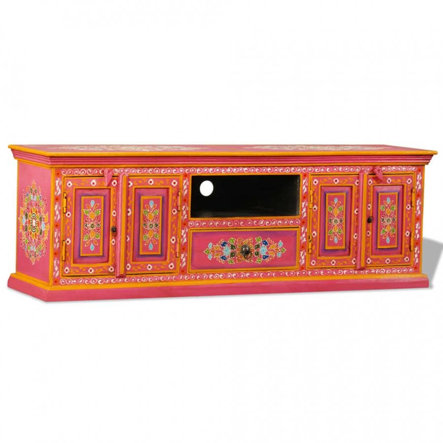 Szafka pod telewizor, drewno mango, różowa, ręcznie malowana kod: V-244590 + Z NAMI NIE RYZYKUJESZ