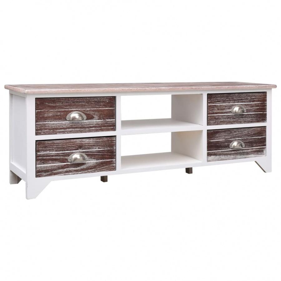 Szafka pod TV, biało-brązowa, 115x30x40 cm, drewno paulownia kod: V-284114 + Z NAMI NIE RYZYKUJESZ