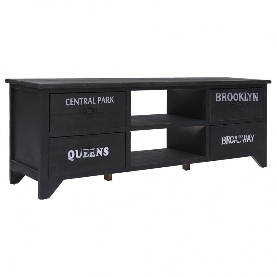 Szafka pod TV, czarna, 115x30x40 cm, drewno kod: V-284121 + Z NAMI NIE RYZYKUJESZ