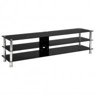 Szafka pod TV, czarna, 150x40x40 cm, hartowane szkło