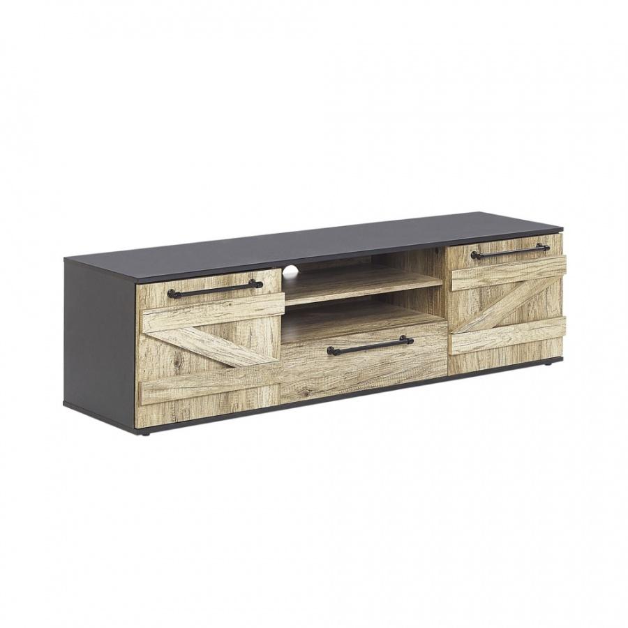 Szafka RTV jasne drewno z czarnym SALTER kod: 4251682248136 + Z NAMI NIE RYZYKUJESZ