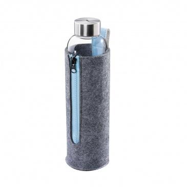 Szklana butelka na wodę, 700 ml  śred. 7 x 26 cm, błękitna