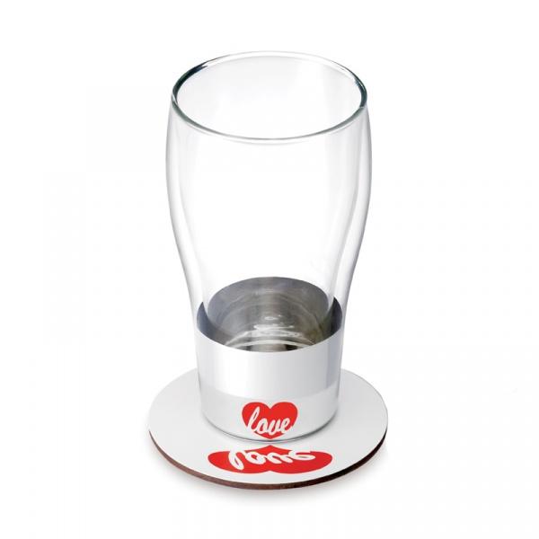 Szklanka z podstawką 400 ml Love PO: Trendy 326