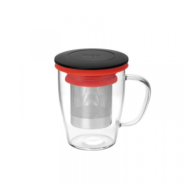 Szklanka z zaparzaczem 350 ml PO: Ming czarno-czerwona 14760