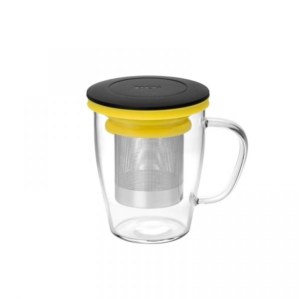 Szklanka z zaparzaczem 350 ml PO: Ming czarno-żółta 14754